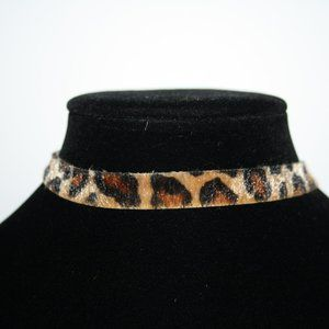 Leopard print choker necklace 13.25-16""